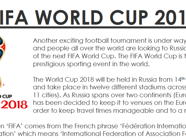 FIFA World Cup 2018 Reading Comprehension English