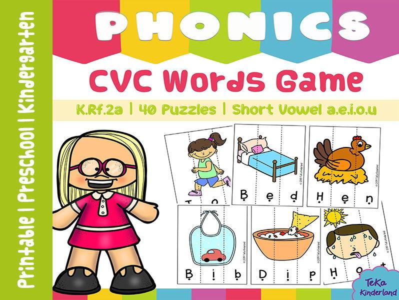 CVC Words Puzzle Games, CVC Short Vowel Activities {TeKa Kinderland}