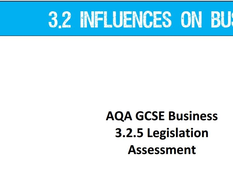 AQA GCSE Business (9-1) 3.2.5 Legislation - Assessment