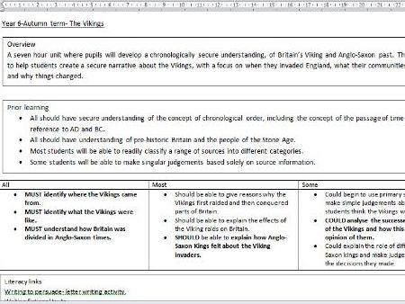 KS2 Scheme of work- The Vikings- 7 hour unit