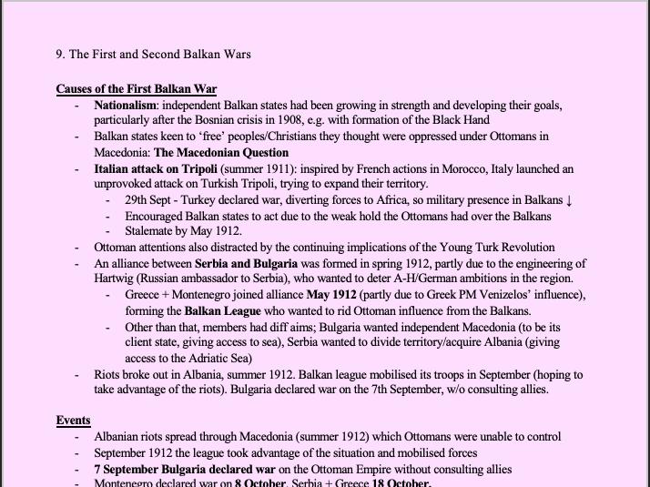 AQA Hist Section 3 1911-17: International Relations