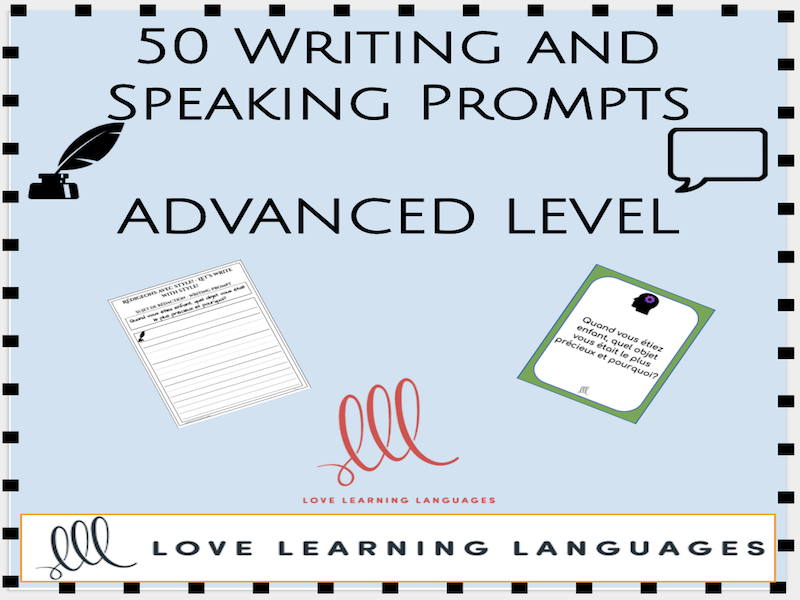 50 French speaking writing prompts - Advanced level
