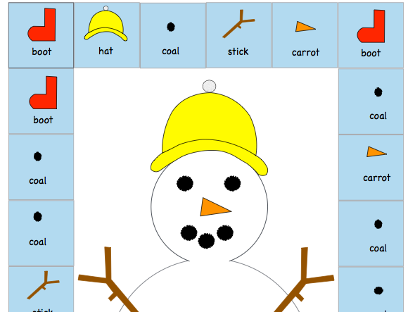 Snowman board game; numeracy, fine motor skills and turn taking.