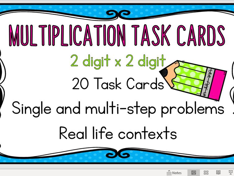 Multiplication Task Cards - 2 Digit x 2 Digit - Word Problems