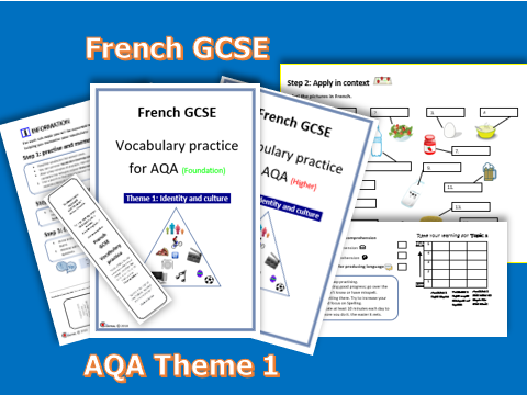 FRENCH GCSE- VOCABULARY PRACTICE FOR AQA THEME 1 (Foundation +Higher)