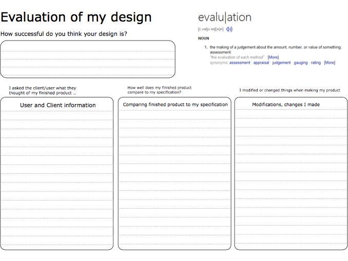 Final Evaluation Worksheet