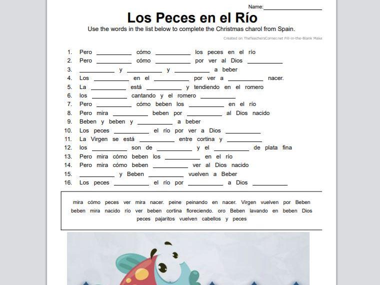 Villancico - Los Peces en el río Gap Fill