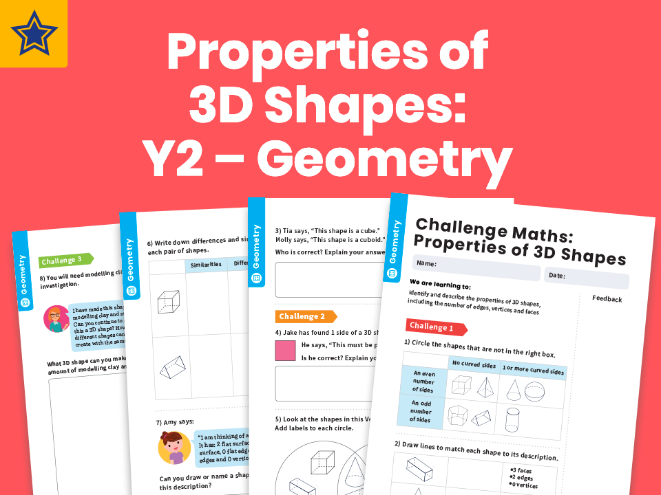 Properties of 3D shapes: Y2 – Geometry – Maths Challenge