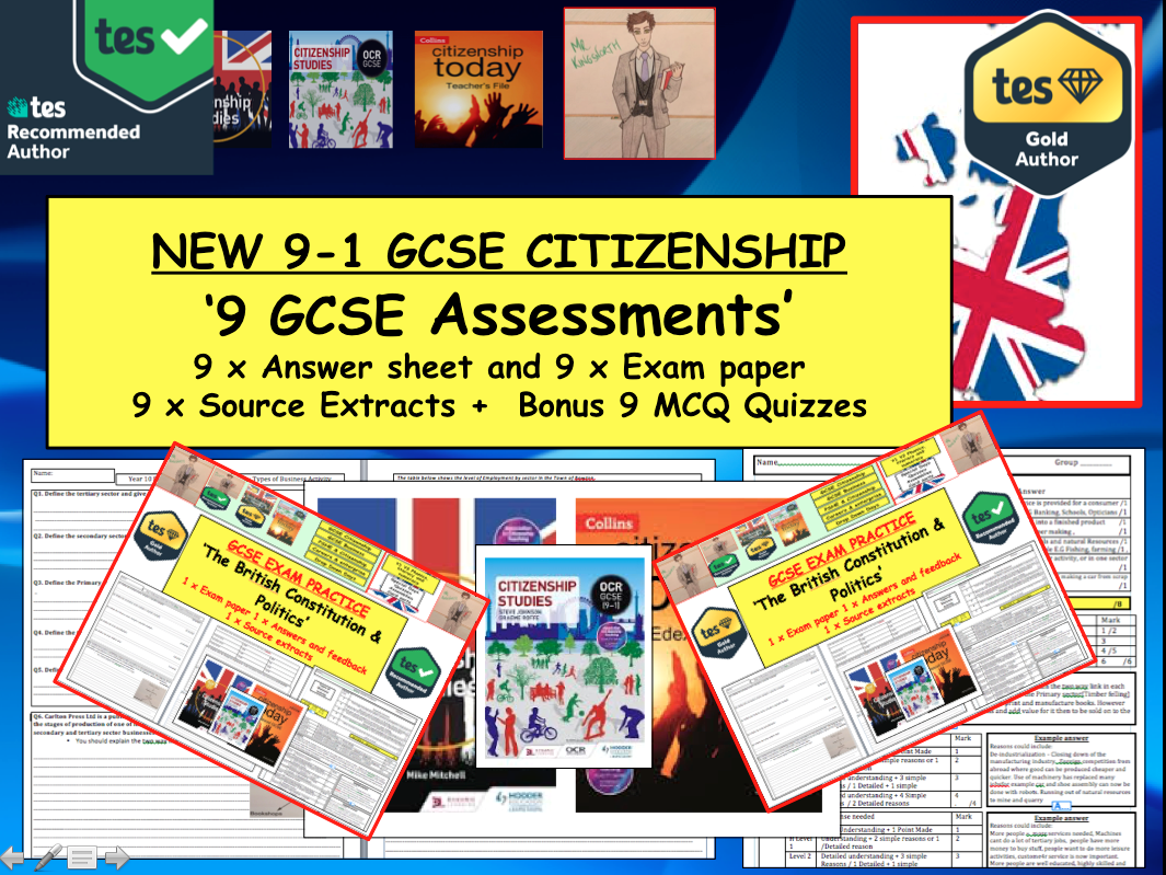 GCSE Citizenship 9-1  9x Example Assessments with Answers