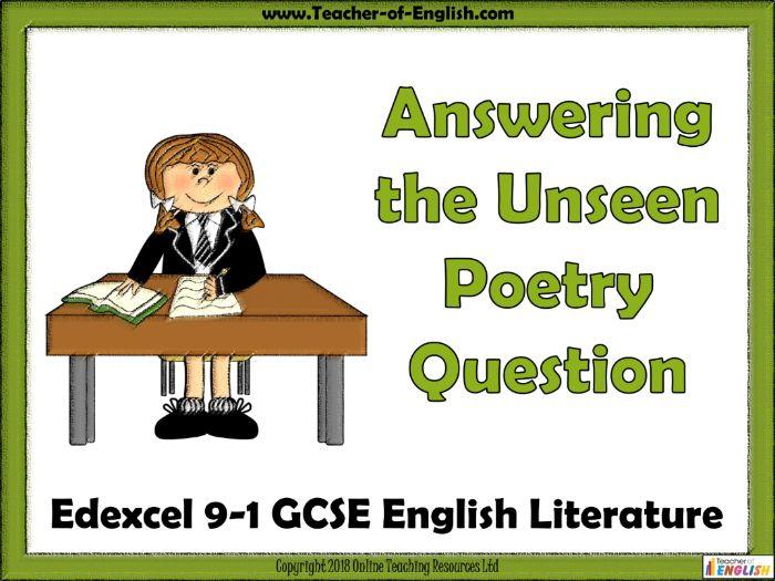 Edexcel 9-1 GCSE Unseen Poetry (PowerPoint and worksheets)