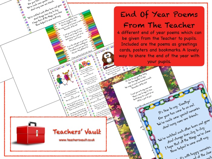 Free Fraction Worksheets Excel End Of Year Poems From The Teacher By Helenrachelcrossley  Photosynthesis Worksheets For High School Word with Printable Worksheets For 1st Grade Math End Of Year Poems From The Teacher By Helenrachelcrossley  Teaching  Resources  Tes 4th Grade Worksheets Reading