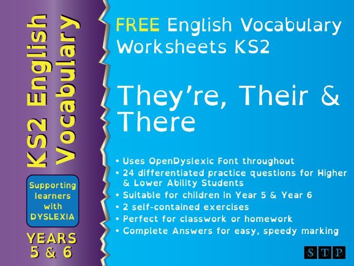 There Their They're Worksheets Dyslexic Learners Year 5 Year 6 KS2