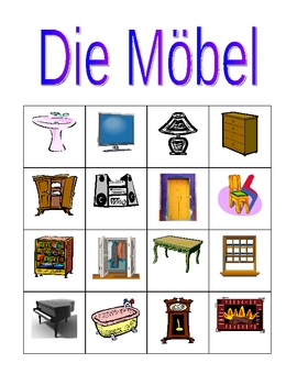 Möbel (Furniture in German) Bingo game