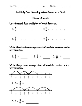 Multiplying Fractions Test 4th Grade (Go Math Chapter 8 ...
