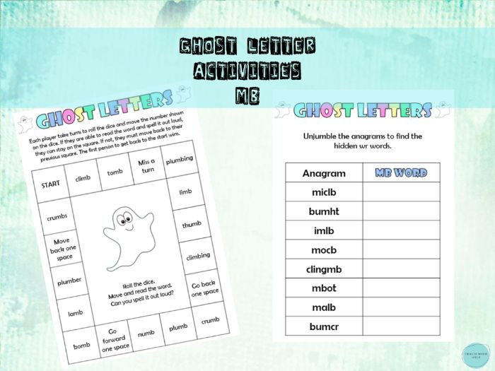 Silent Letter Spelling Games (mb silent b) / Ghost Letter Activity