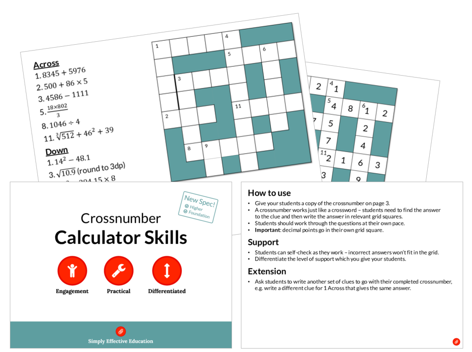 Calculator Skills (Crossnumber) by SimplyEffectiveEducation ...
