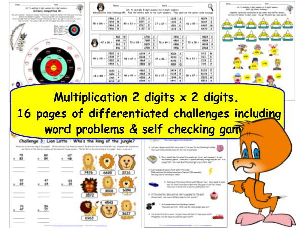 Multiply 2-digits by 2-digits Y5 Differentiated Multiplication Challenges