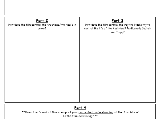 Worksheet to accompany the film The Sound of Music