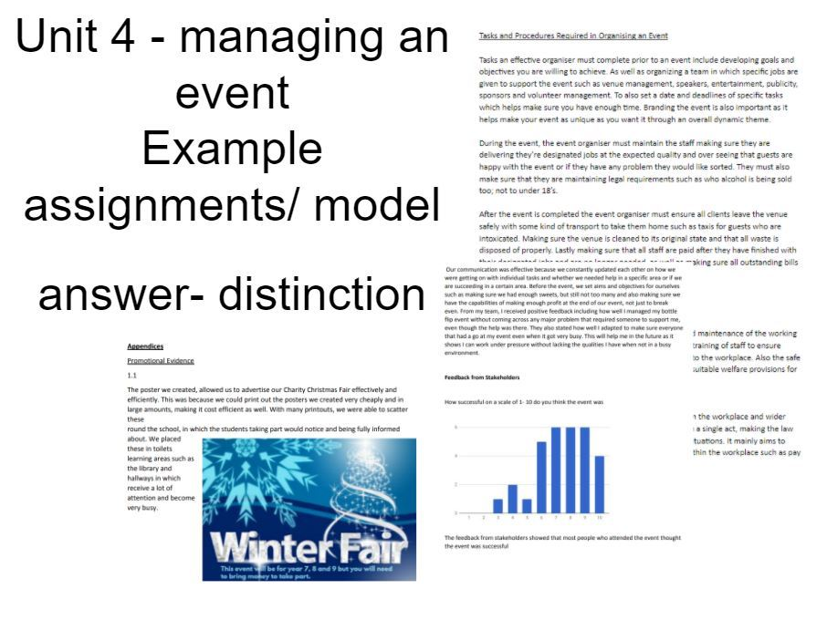 Unit 4 Managing an Event Example Coursework / Model Answer/Student Work - BTEC National Business