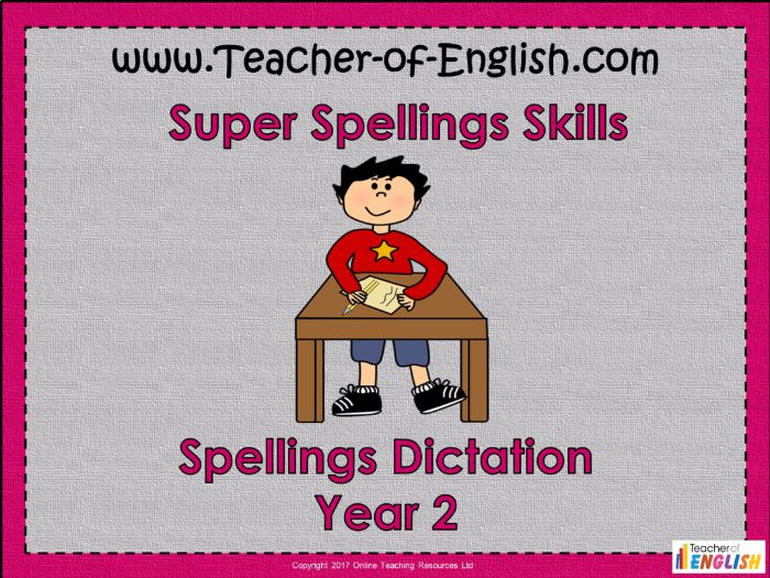 Spellings Dictation - Year 2