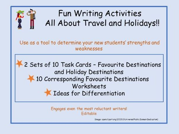 Fun Writing Activity - Travel and Holidays