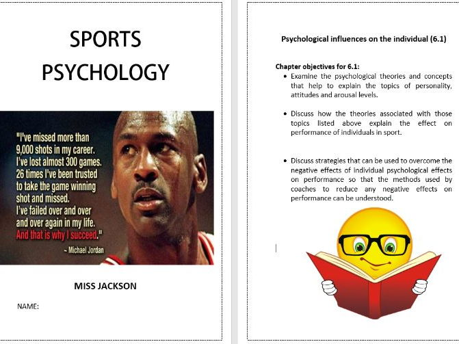 AQA A Level Sports Psychology - Workbook and 6 lessons for chapter 6.1 (Bundle) FOR NEW SPEC'