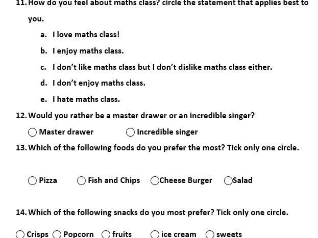 Class Survey for Teaching Stats