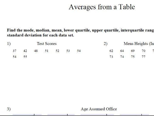 GCSE Maths Revision : Averages Standard Deviation, Mean, Mode, Range, IQR, Upper and Lower Quartile