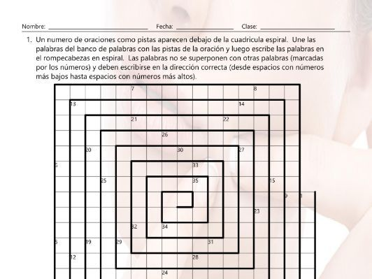 Bad Habits and Addictions Word Spiral Spanish Worksheet