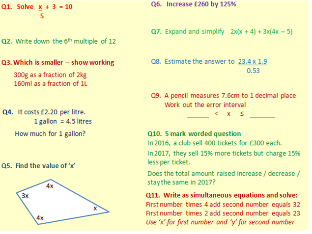 GCSE Maths - Foundation AQA starter questions (over 250!) Grade 1 to Grade 5.
