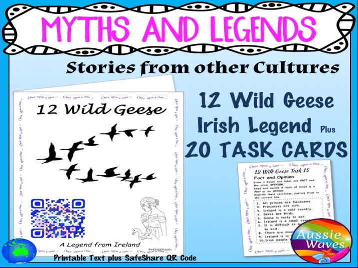 Myth Legend Irish 12 WILD GEESE Text & Task Cards Connections Close Questions