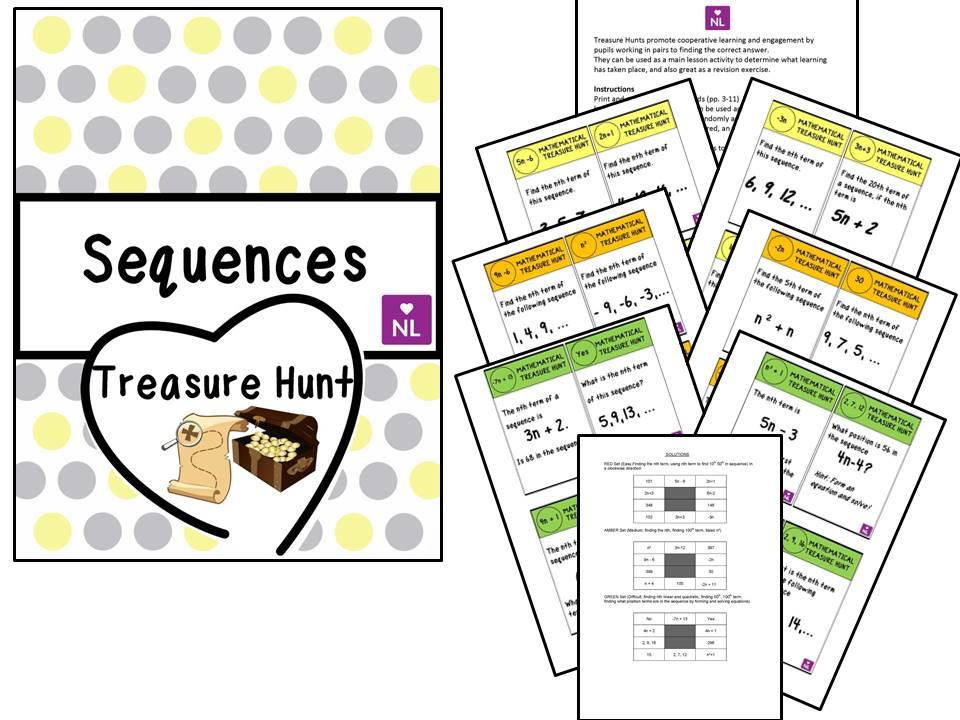 Sequences, n th term (Treasure Hunt)