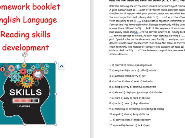 WJEC reading skills homework booklet