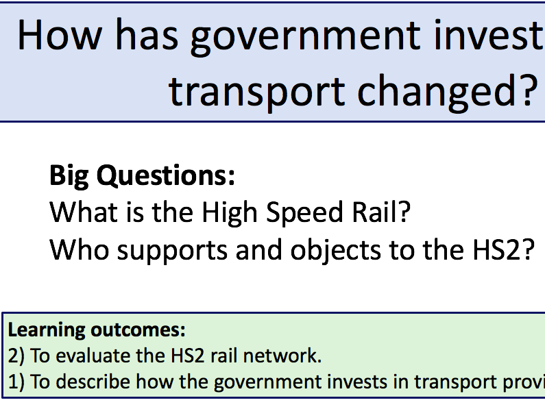 Government investment in Transport (AQA 9-1)