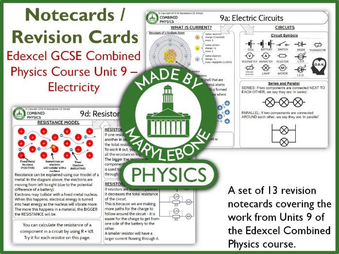 Edexcel GCSE 9-1 Combined Physics P9 Notecards (Revision Cards) - Electricity