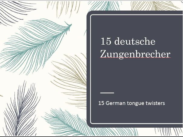 15 German Tongue Twisters