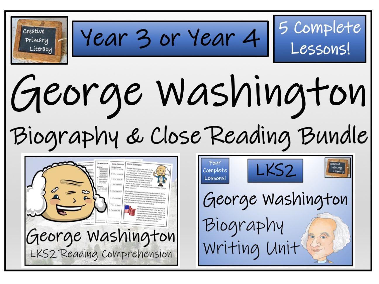 LKS2 History - George Washington Reading Comprehension & Biography Bundle