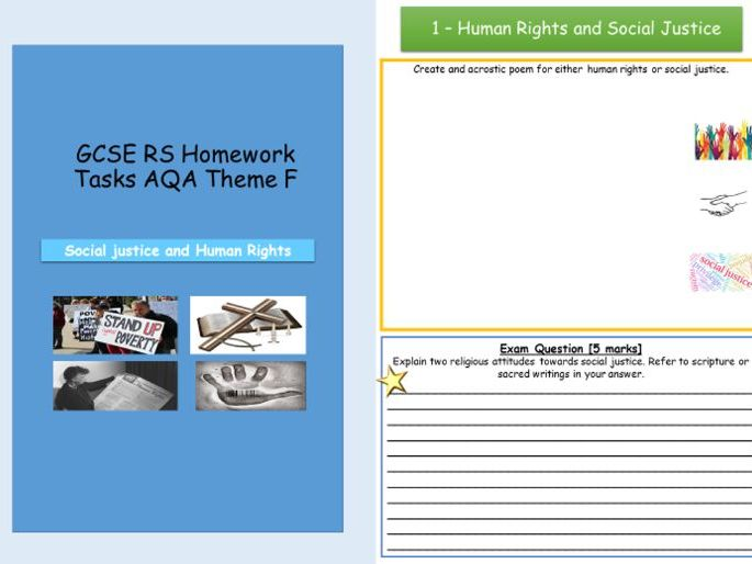 AQA Human Rights/Social Justice Homework or Independent Learning Tasks