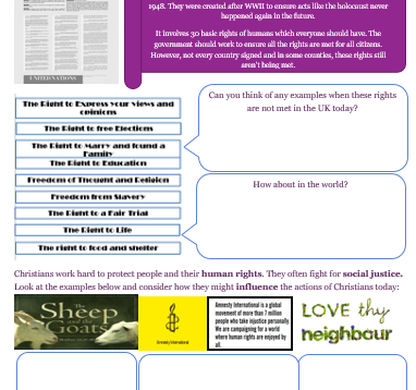 GCSE AQA RE Religion, Human Rights and Social Justice Revision and Activity Booklet