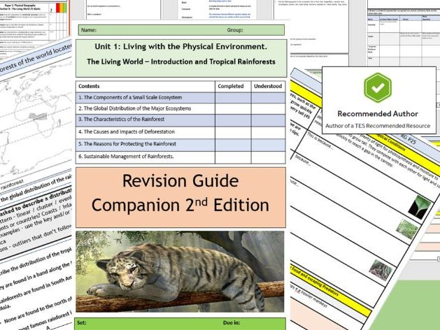 AQA 9-1 Ecosystems Introduction and Rainforest Revision Guide Companion Home Learning Booklet.