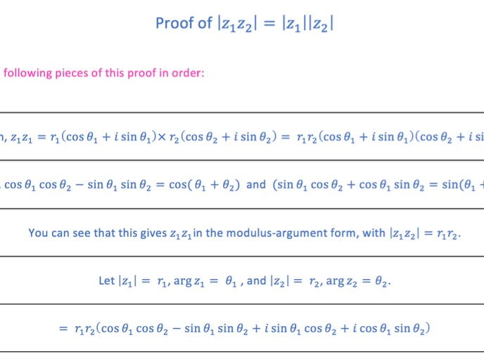 Complex Numbers Proof Sort