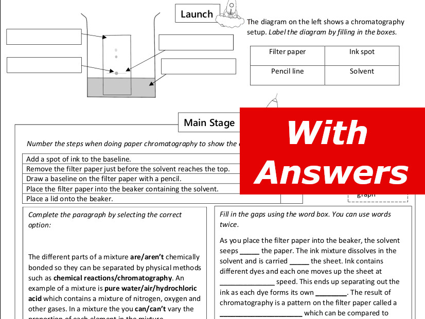 Chromatography Home Learning Worksheet GCSE