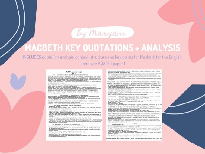Macbeth Revision for AQA English Literature 9-1