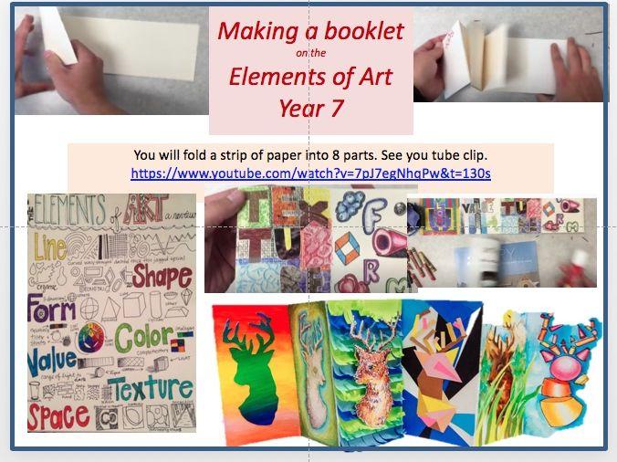 Elements of Art Foldout booklet: line, shape, colour, texture, space, value
