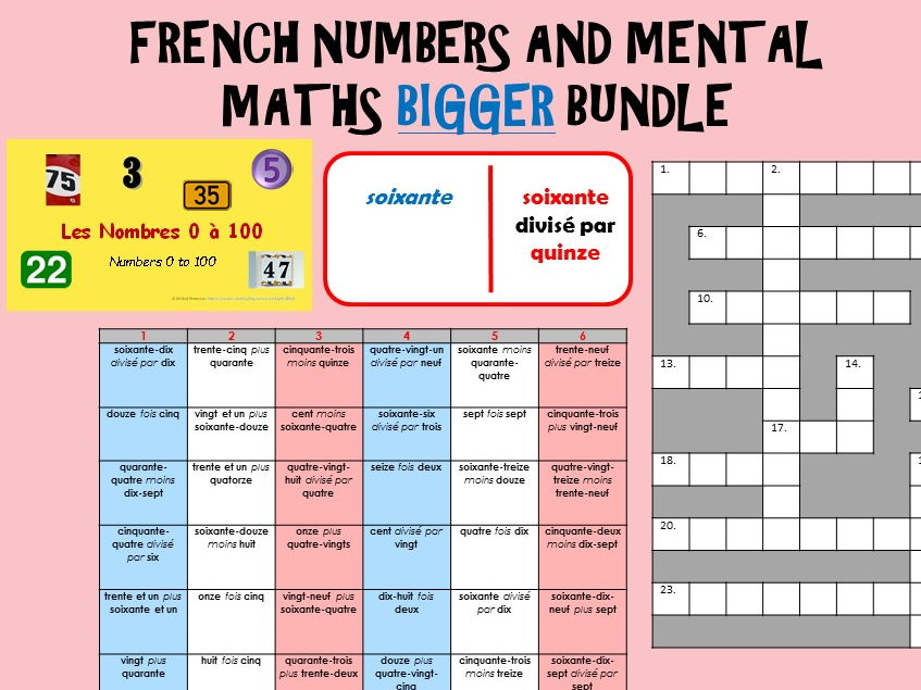 French Numbers / Maths BIGGER Bundle