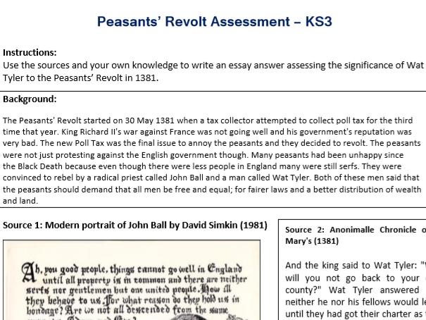 Peasants' Revolt (Wat Tyler) Assessment