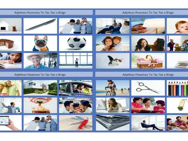 Possessive Adjectives-Possessive Spanish Case Legal Size Photo TTT-Bingo Game