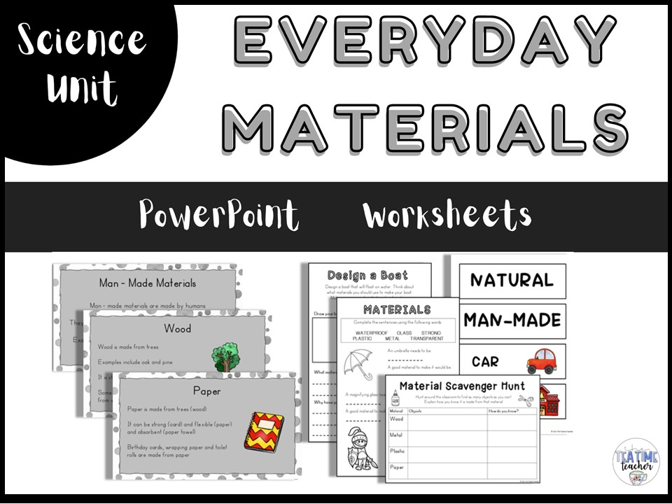 Everyday Materials Year 1 Science Lesson PowerPoint and Worksheets