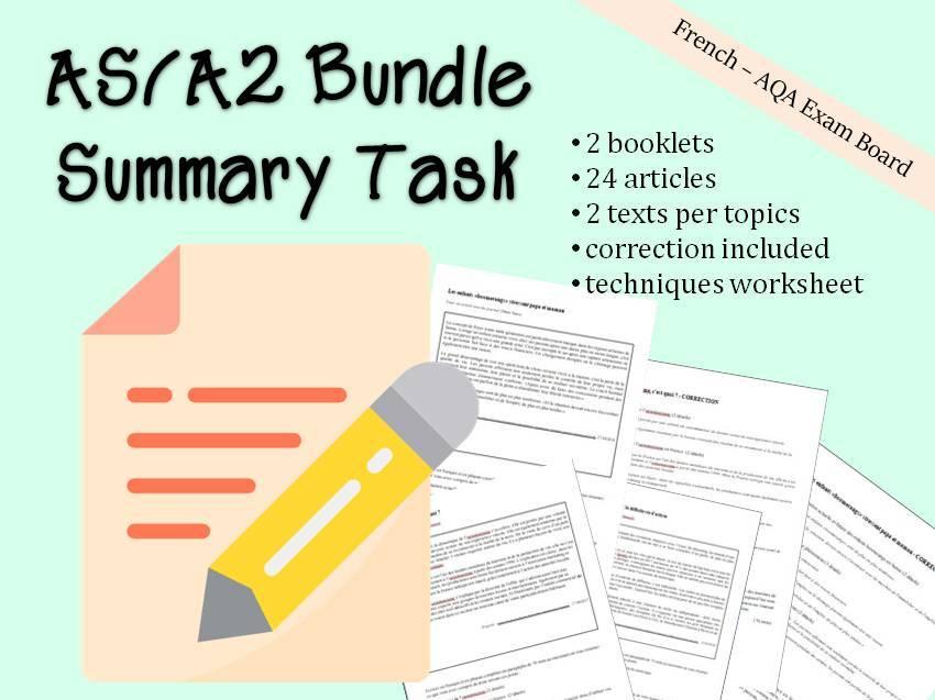 French A level - Summary task bundle - résumé AS A2