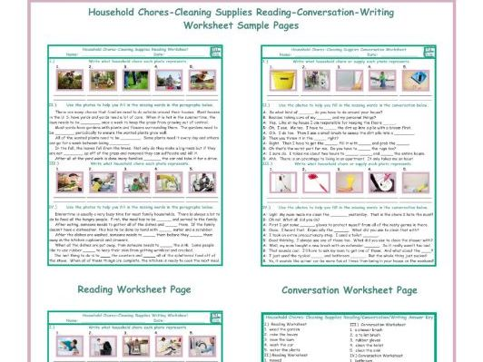 Household Chores-Cleaning Supplies Reading-Conversation-Writing Worksheets